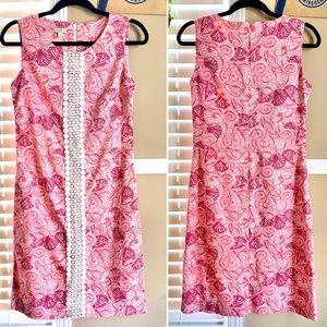 Talbots Sheath Pink Sea Shells Print Shift Dress